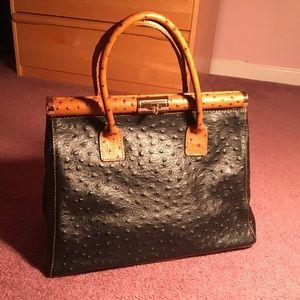 Handbags - Italian Leather Two-tone Ostrich Handbag